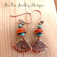 Copper, turquoise and orange stone fan earrings. Bohemian jewelry.