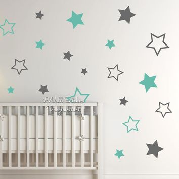 Baby Nursery Stars Wall Sticker Star Wall Decal Children Room Wall Sticker Kids Room Easy Wall Art Cut Vinyl N22