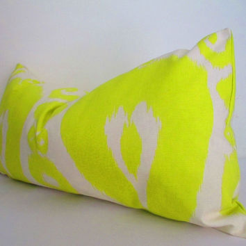Lime Green Pillow Cover, Long Green and white pillow, lumbar cushion cover, green throw pillow cover 14x28 Inch