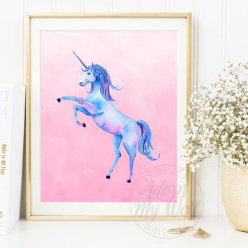 Unicorn Print, Watercolour Unicorn, Wall Art, Unicorn Printable, Instant Download, Girls Nursery Art Decor, Unicorn poster, Unicorn Painting