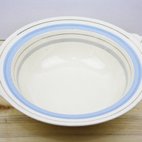 Serving Bowl, China Dish, Large Serving Bowl, Tableware, Pastels, Blue and Cream, Striped, New Hall Hanley, Vegetable Dish, Kitchen - 1950's