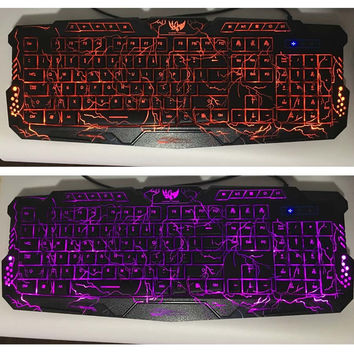 Purple/Blue/Red LED Breathing Backlight Pro Gaming Keyboard Mouse Combos