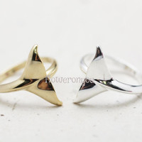 Whale Tail Ring ,dolphin tail ring, whale ring, fish-tail ring, nautical jewelry /