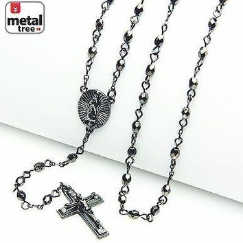 "Jewelry Kay style NEW Men's Fashion 4mm Bead Guadalupe & Jesus Cross 25"" Rosary Necklace HR 700 HE"