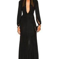 Alessandra Rich Jersey Deep V Gown in Black | FWRD
