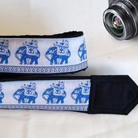 Lucky Elephants Camera Strap. Photographer Gift  Camera Strap,  White Blue Camera Strap