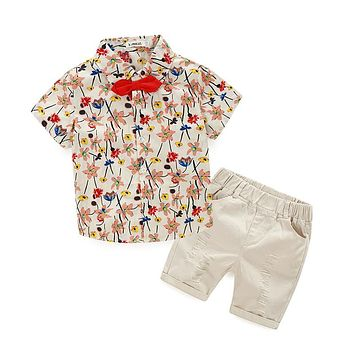 Fashion Boy clothing set baby boy flower suit set Kids set Children's clothes boy flower shirts+denim shorts