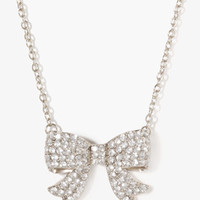 Rhinestoned Curled Bow Necklace