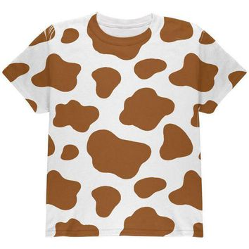 CREYCY8 Halloween Costume Brown Spot Cow All Over Youth T Shirt
