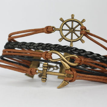 TRANQUILITY~ Handmade Ship Wheel Infinity Anchor Bracelet Brown Black Leather Multilayer Bracelet Bronze Charm Bracelet ilovecheesygrits
