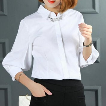 Vintage Petal Lantern Sleeve Blouse Women New FashionThree-Quarter Sleeve Turn-Down Collar Tops Hidden Buttons White Shirts
