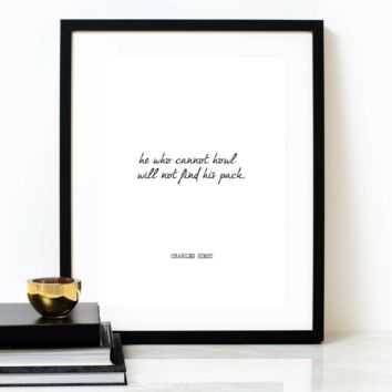 'Be A Wolf' Typographic Print, CHARLES SIMIC Poem
