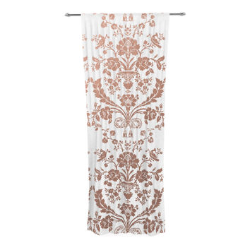 "KESS Original ""Baroque Rose Gold"" Abstract Floral Decorative Sheer Curtain"