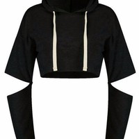 Slit Sleeve Cropped Hooded Sweatshirt