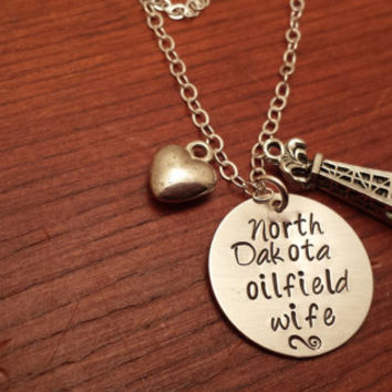 "Hand stamped oilfield necklace ""North Dakota (can use any state) oilfield wife"" with derrick"