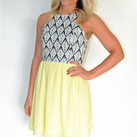 Scuba Print & Chiffon Mixed Dress