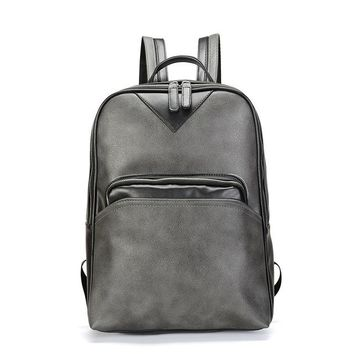 School Backpack trendy Vintage PU Leather Men Backpacks Male School Bag Black Backpack for Teenage Boys Schoolbag Travel Bag sac a dos homme 2018 new AT_54_4
