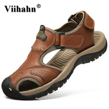 Viihahn Mens Sandals Genuine Leather Summer 2017 New Beach Men Casual Shoes Outdoor Sa