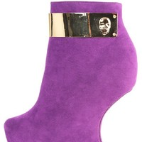 Red Kiss Ariel Purple Metal Skull Heel Less Booties and Shop Boots at MakeMeChic.com
