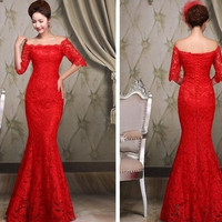 Hot Sell Winter Plus Size Lace Long Mermaid Wedding Dress