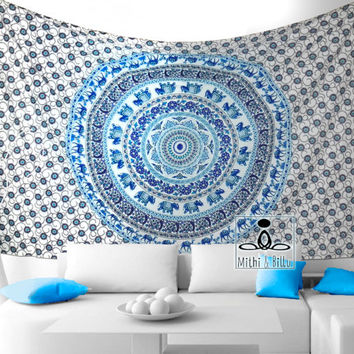 Room Décor - Mandala Tapestry - Wall Decor - Bohemian Style - Wall Hanging -Bed Sheets - Pure Cotton - Twin - Multicolor Tapestries - 1081