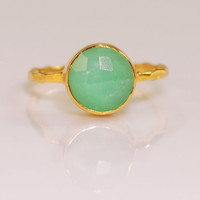 Chrysoprase Ring - Gemstone Ring - 18k Gold Vermeil Chrysoprase Bezel Ring