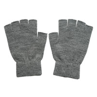Grey Knit Fingerless Gloves