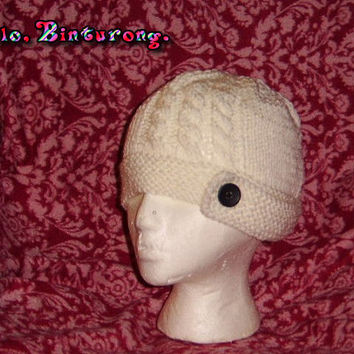 Cabled Button Flap Hat