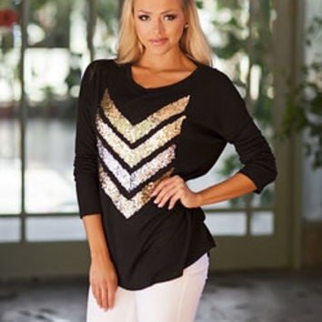 Hot Sparkly Chevron Tunic Black