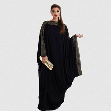Black Elegant Loose Abaya Kaftan Maxi Dress