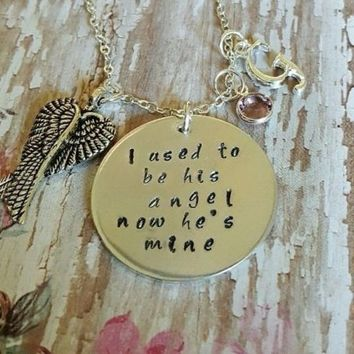 I used to be his angel now he's mine Necklace Memory Sterling Silver Necklace