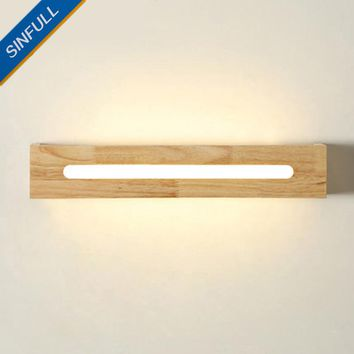 Modern Wood Bathroom Wall Light Bedside Japanese-Style Wall Lamp LED Home Decor Sconce 6W AC100-220V Indoor Lighting Fixtures