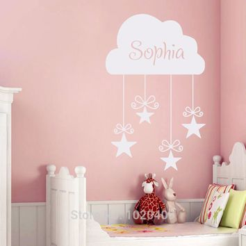 Cloud And Stars Custom Girls Name Decals Vinyl Home Decor Baby Girls Bedroom Art Decoration Kids Room Mural Wall Sticker A007