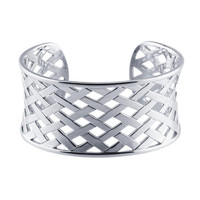 Sterling Silver Crosshatch Pattern Cuff  Bracelet  Custom Made in the USA