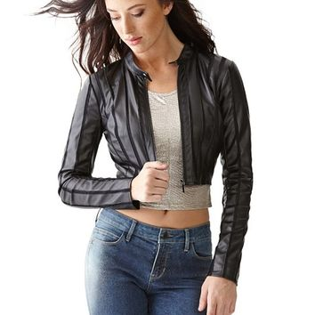 Cropped Faux-Leather Mesh-Strip Jacket | GUESS.com