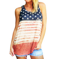 2017 Vantage Tank Tops American Flag tops for women vest Crop Tops Causal Cotton O-Neck Multicolor Shirts