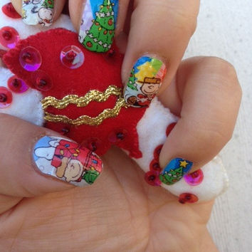 FELIZ NAVIDAD Charlie Brown Christmas Nail Decals fun stocking stuffers