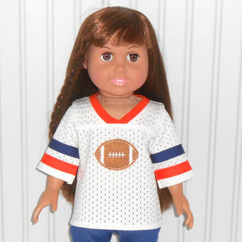 18 inch Girl or Boy Doll Clothes White Football Jersey with Orange and Navy Trim American Doll Clothes
