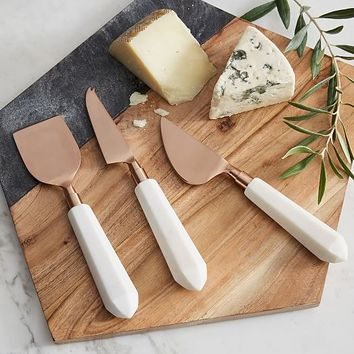 Copper + Marble Cheese Knives (Set of 3)