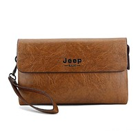 JEEP BULUO Men Fashion PU Leather Men Business Hand Bag Multi-Layer Wallets Purse Khaki