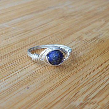 Stone ring, Lapis wire wrap, silver ring, Lapis ring,Lapis Lazuli ring,wire jewelry,wire wrapped ring, bohemian,custom ring,healing stone