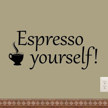 Espresso Yourself Coffee Wall Decals Kitchen Quotes Home Decor Dining Bar Decals