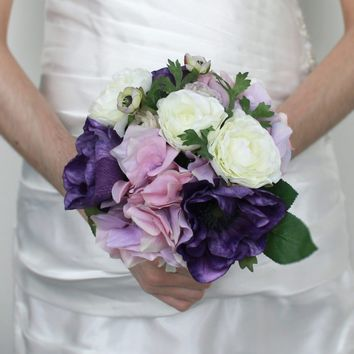 "Hydrangea and Ranunculus Purple Lavender Silk Wedding Bouquet11"" Tall"