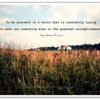 Inspirational Quotes, Emerson print, Landscape Photography 8x10 typography, Be yourself