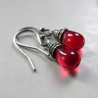 Red drop silver earrings, wire wrapped earrings, casual dangle earrings