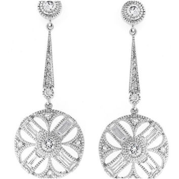 Chesna Vintage Milgrain Dangle  Earrings | 6ct | Cubic Zirconia | Silver