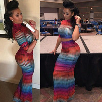 Summer Women Chiffon Dress Up Tops Maxi Dress 2 Piece Sets Women Outfit Sexy Clubwear Rainbow Color Bodycon Party Dress