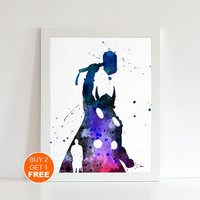 Thor watercolor illustration art print, Thor art, Thor poster, home decor, Thor print, superhero art, superhero print, superhero watercolor