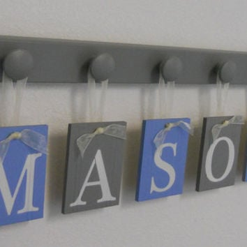 Baby Boy Nursery Decor Name Sign Set Includes Blue and Gray Personalized Alphabet Wall letters and Grey 5 Wooden Pegs. Custom Order MASON
