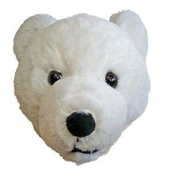 7-inch Polar Bear Head Plush Wall Mounting Stuffed Animal Toy